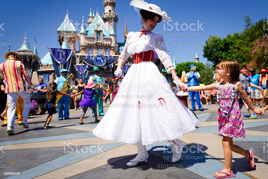 Mary Poppins dances at Disneyland stock photo