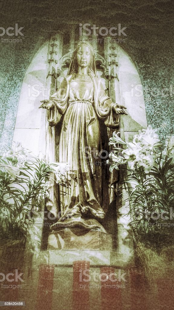 Mary Statue, Lillies, Cathedral St. John the Evangelist, Cleveland, OH stock photo