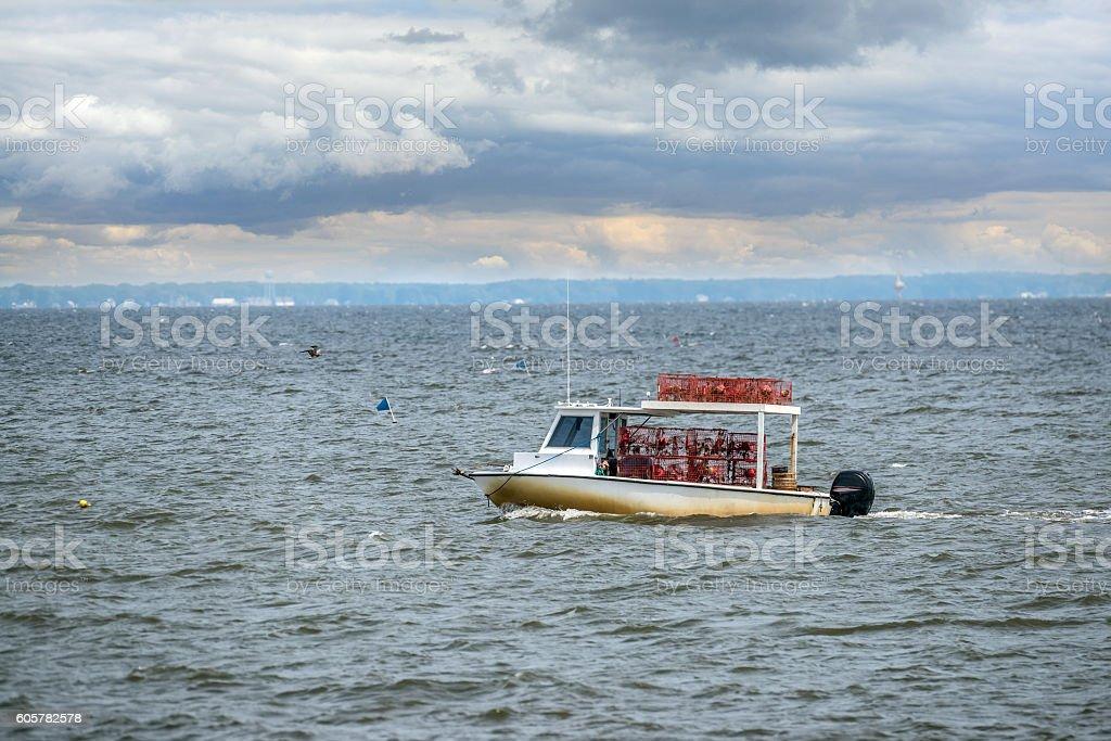 Maryland crab boat fishing on the Chesapeake Bay stock photo