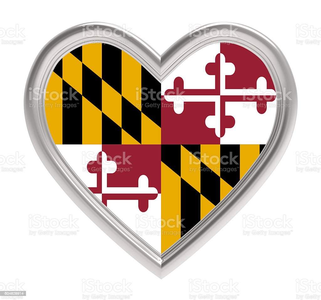 Maryland flag in silver heart isolated on white background. stock photo