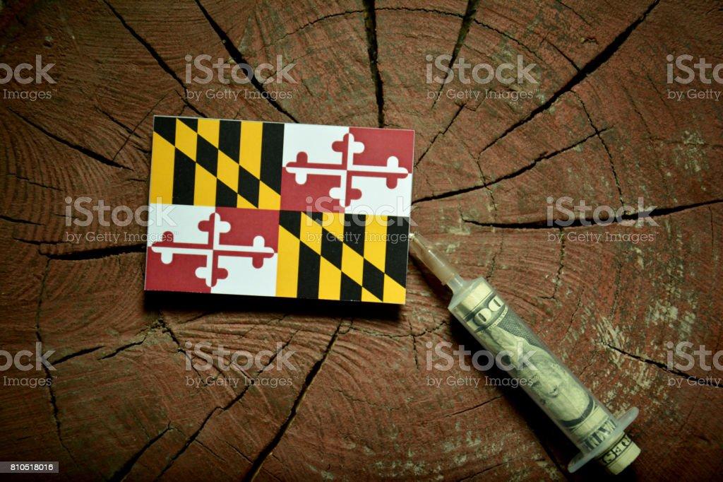 Maryland flag on a stump with syringe injecting money in flag stock photo