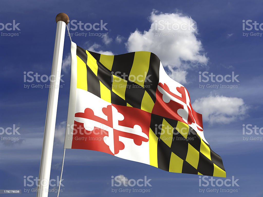 Maryland flag (with clipping path) royalty-free stock photo