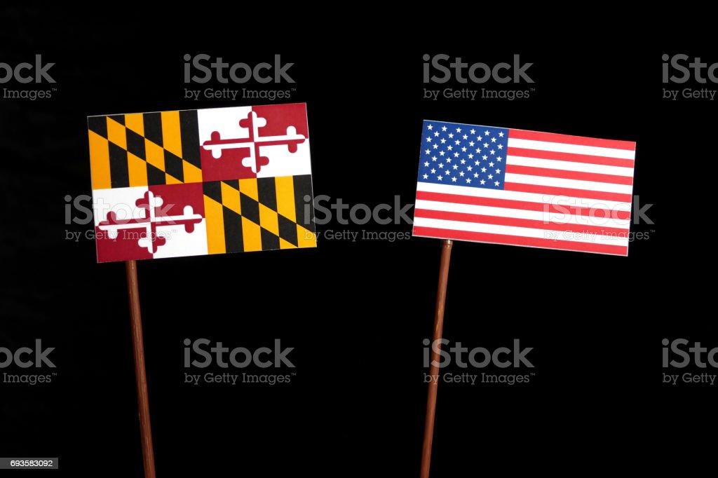Maryland flag with USA flag isolated on black background stock photo