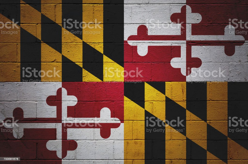 Maryland state flag painted on a wall stock photo