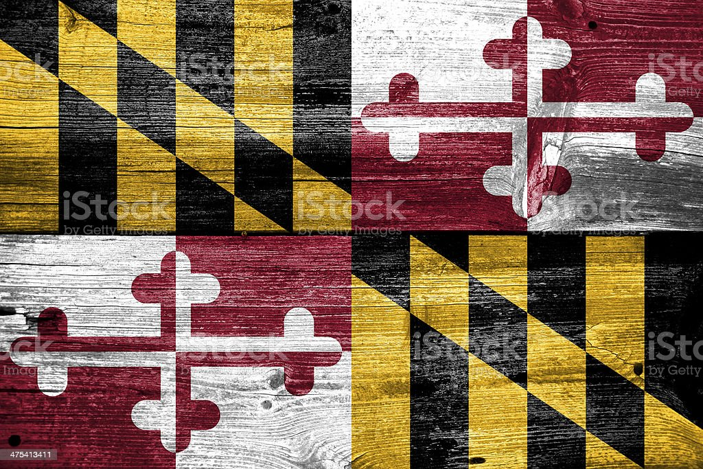 Maryland State Flag painted on old wood plank texture royalty-free stock photo