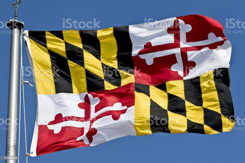Maryland State Flag Waving In the Breeze royalty-free stock photo