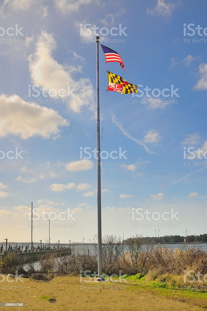 Maryland State Flag With US Flag stock photo