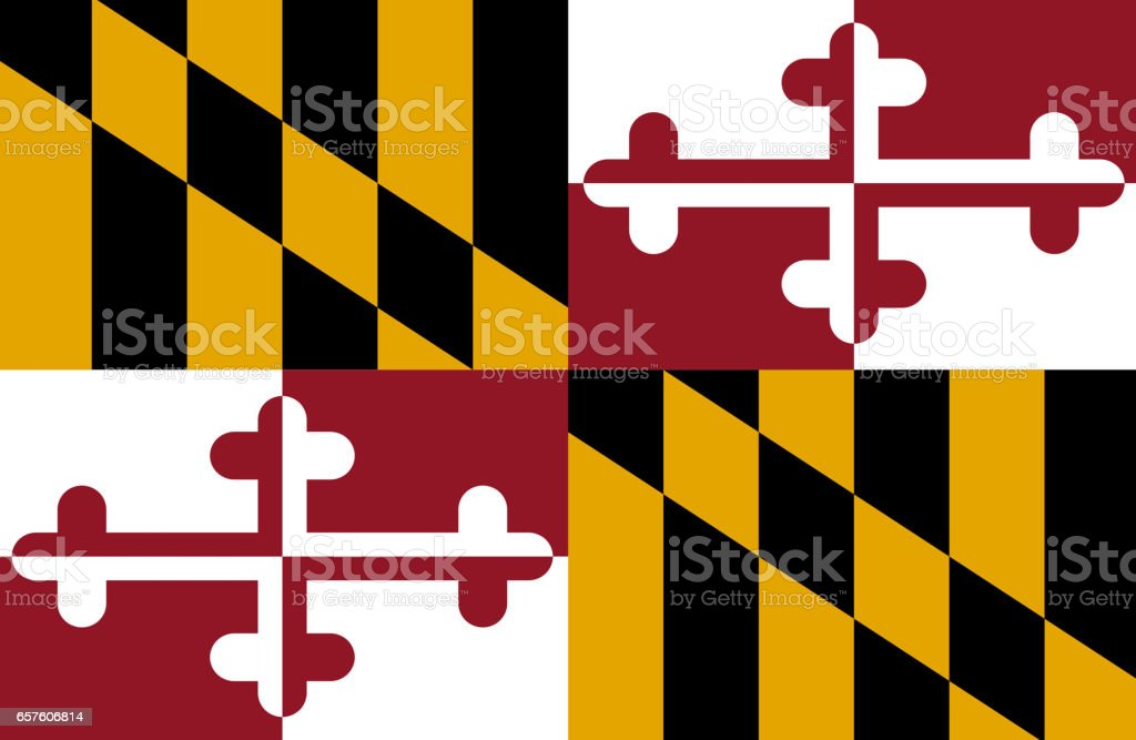 Maryland State flat flag stock photo