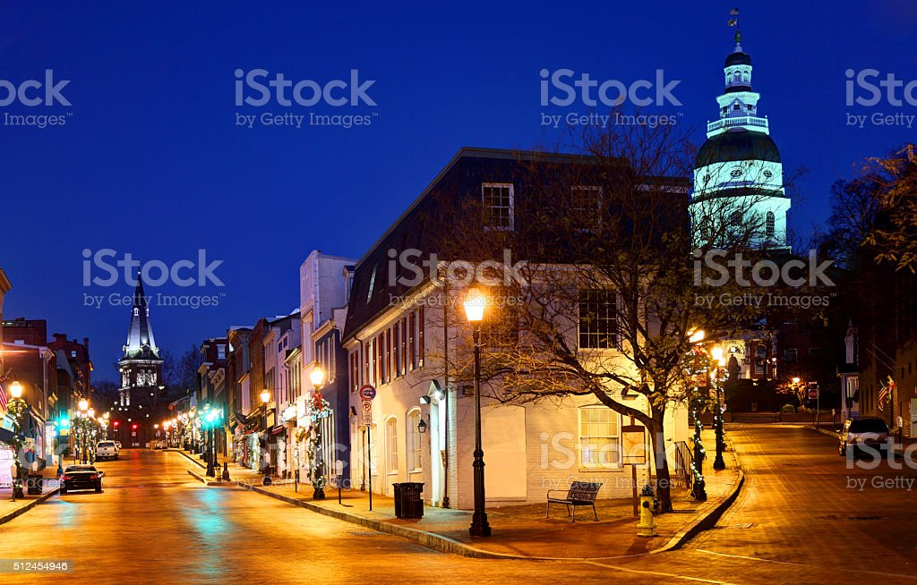 Maryland State House and Downtown Annapolis stock photo