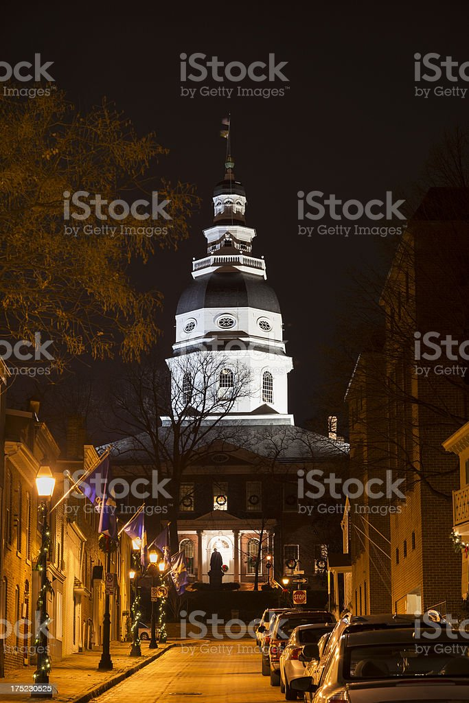 Maryland State House During Christmas at Night royalty-free stock photo