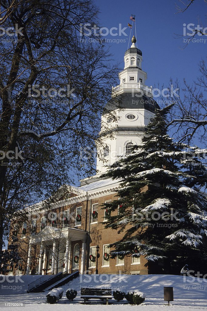 Maryland Statehouse in snow royalty-free stock photo