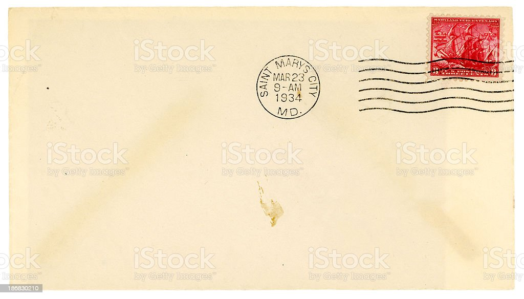 Maryland Tercentenary stamped envelope from St Mary's City royalty-free stock photo