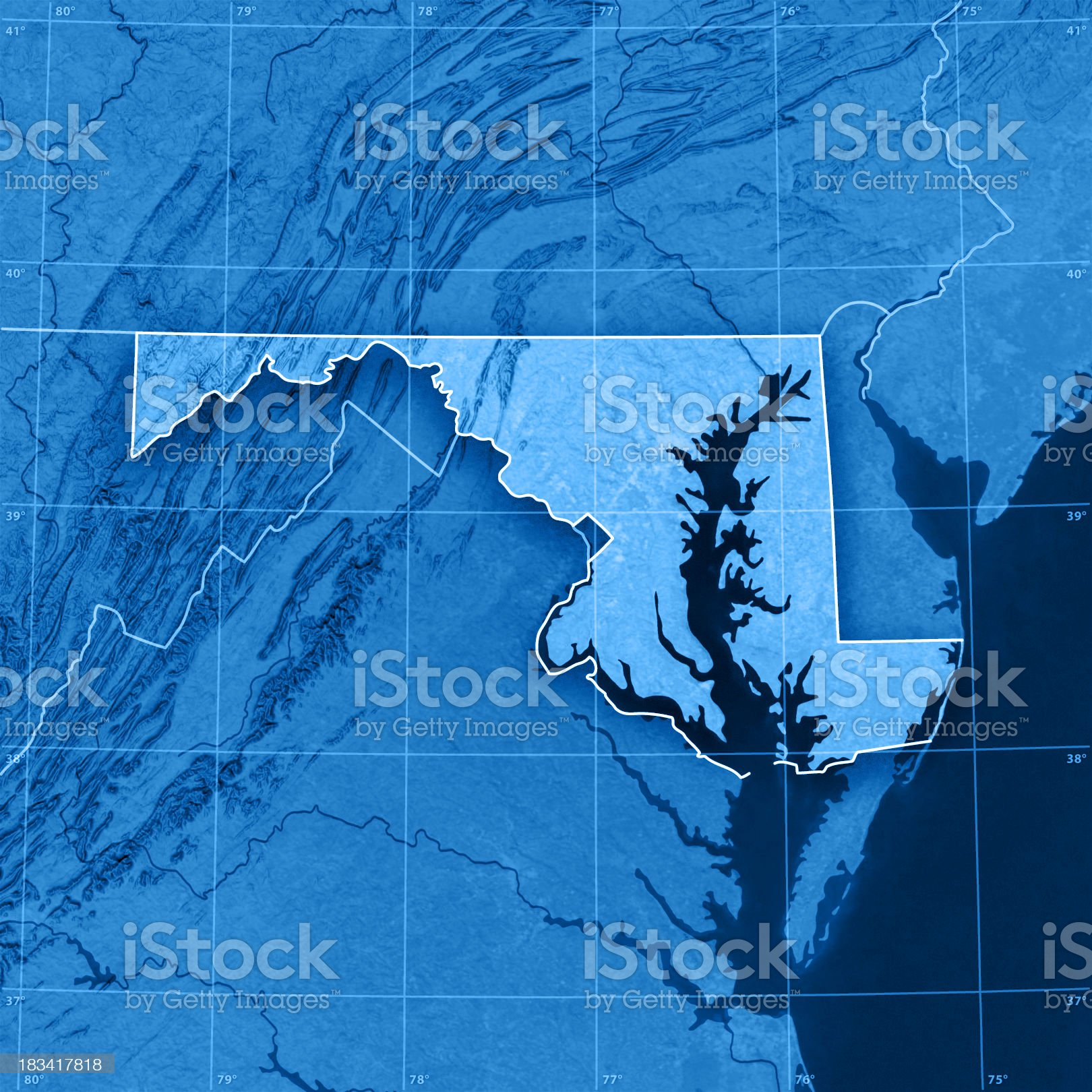 Maryland Topographic Map royalty-free stock photo