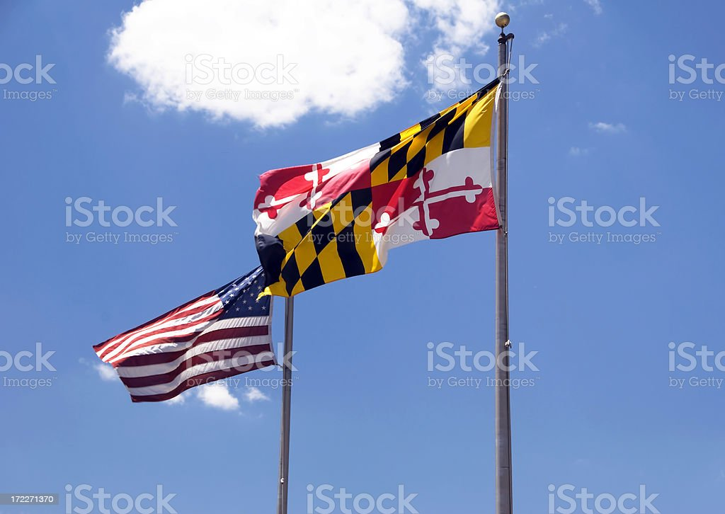Maryland, USA Flags royalty-free stock photo