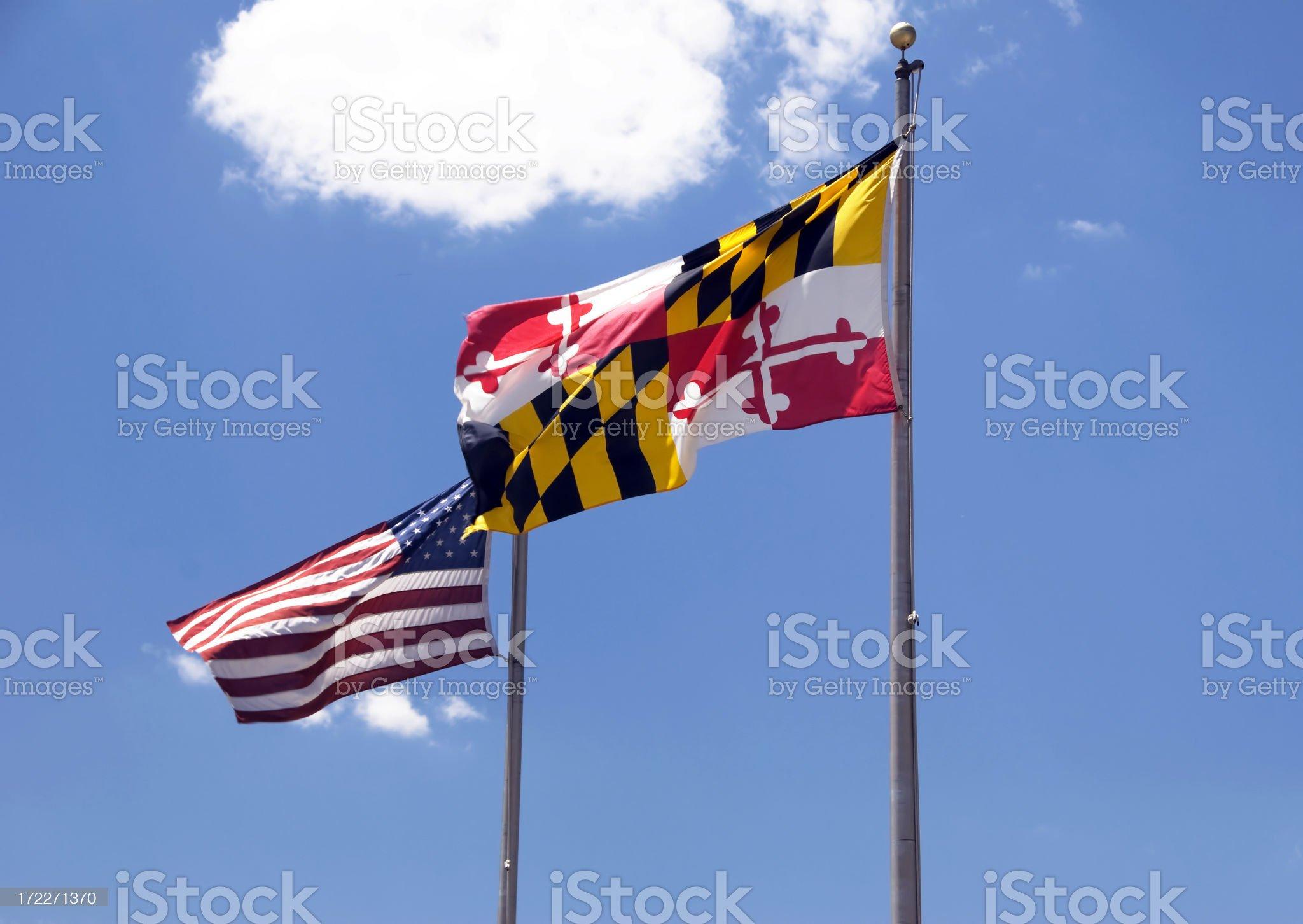 Maryland, USA Flags royalty-free stock photo