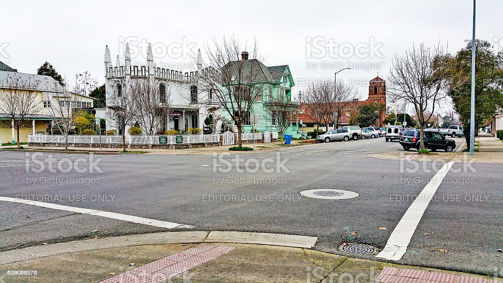 Marysville Street Scene with Museum and House of Worship stock photo