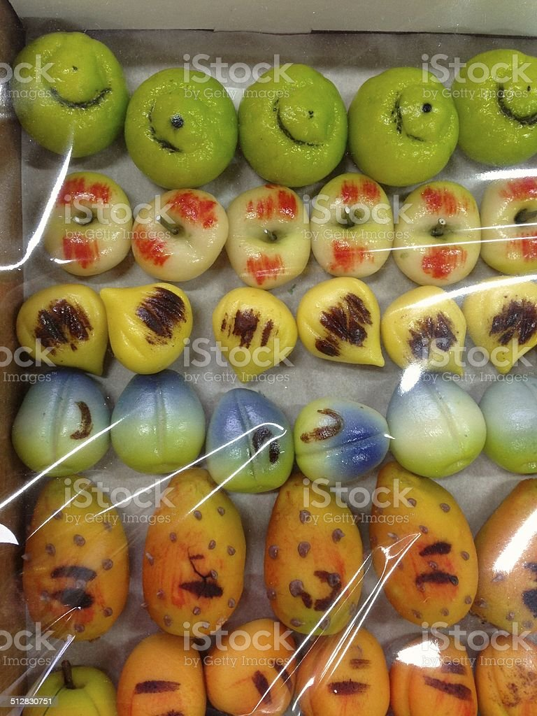 Marzipan fruit under plastic in a shop in Sicily, Italy stock photo