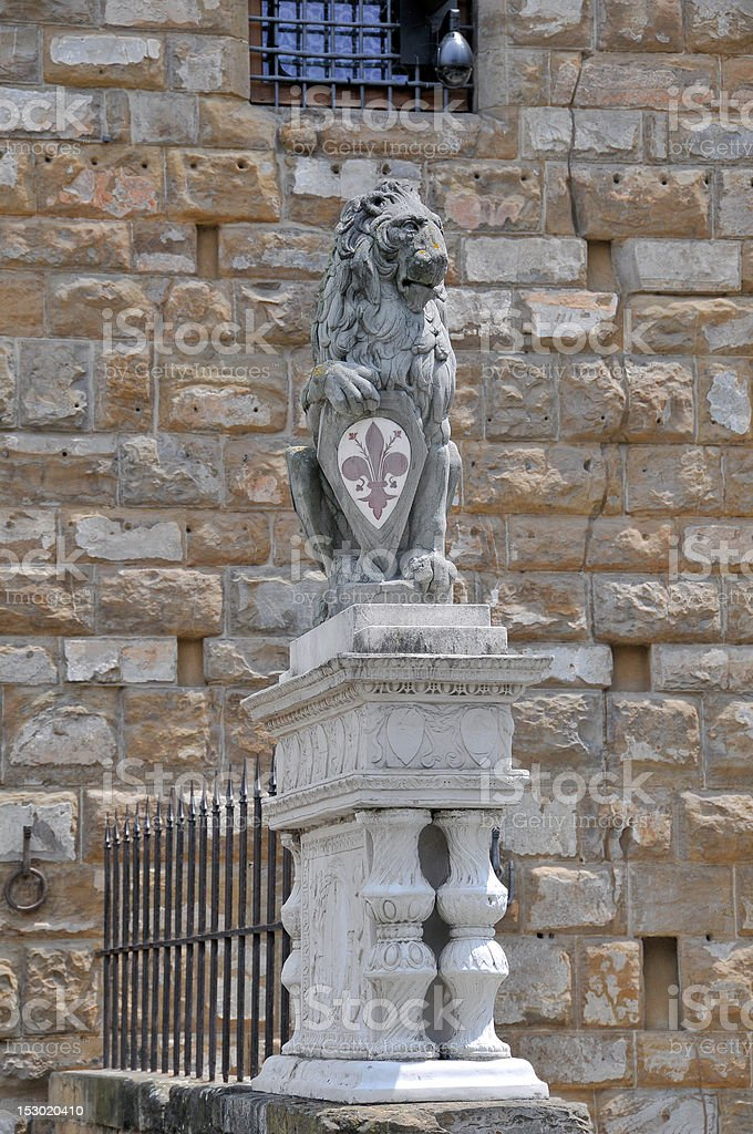 Marzocco Lion Statue in Florence, Italy. stock photo