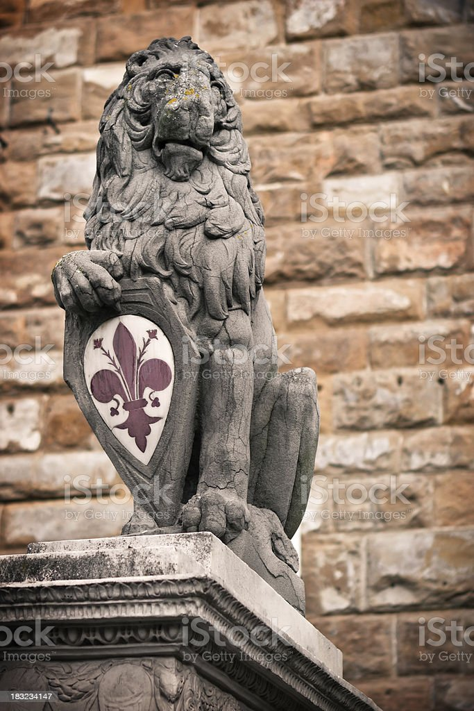 Marzocco Lion Statue in Florence, Italy stock photo