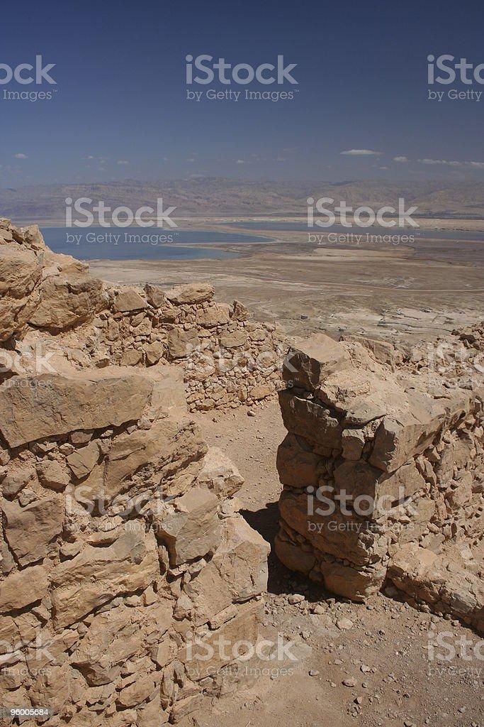 Masada and Dead Sea royalty-free stock photo