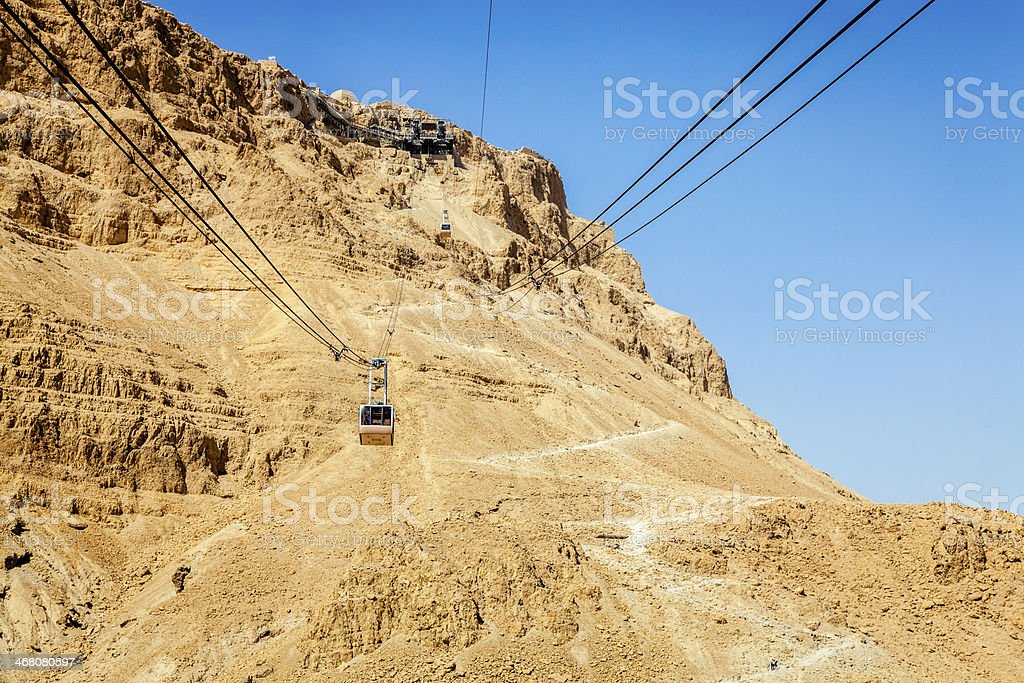 Masada cable car stock photo