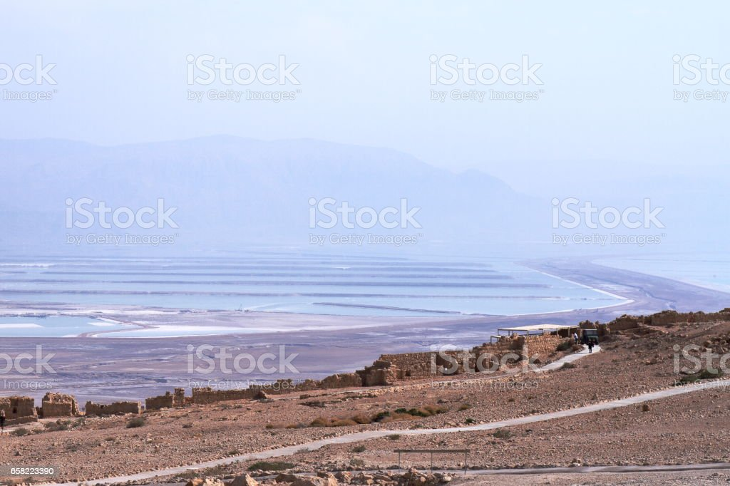 Masada Fortification ruins and The Dead Sea - Israel stock photo