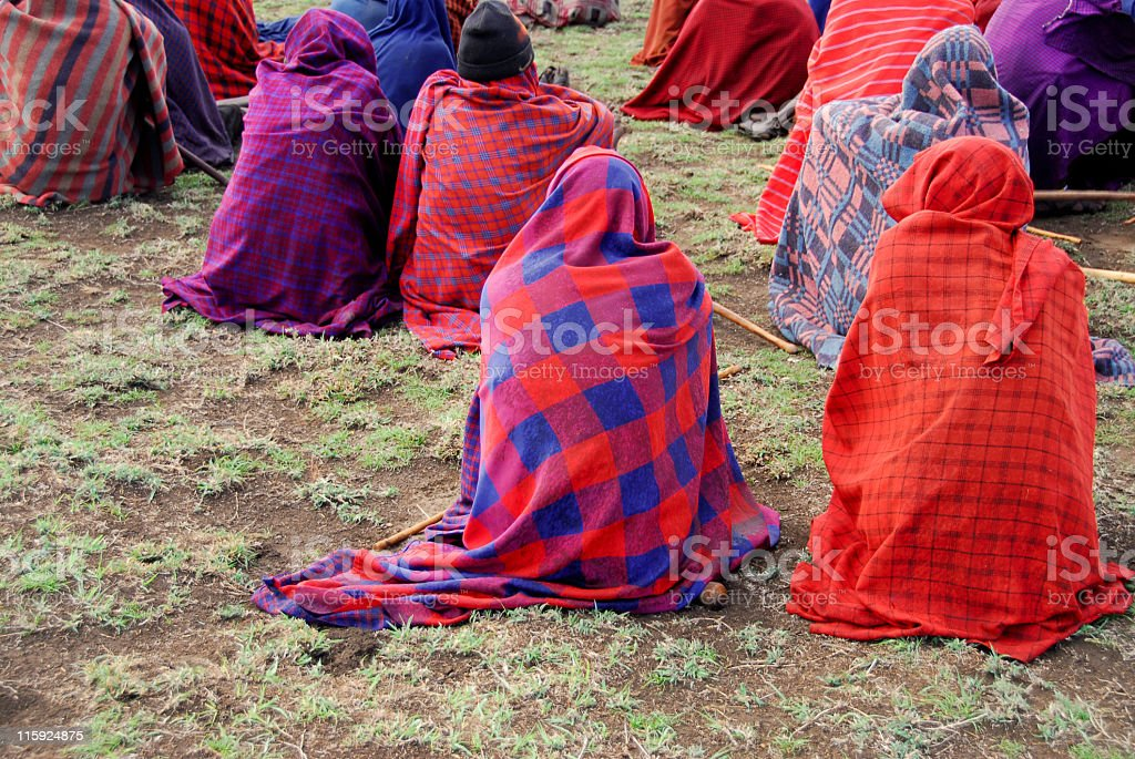 Masai attending a meeting in village,Ngorongoro Conservationa Area,Tanzania. royalty-free stock photo