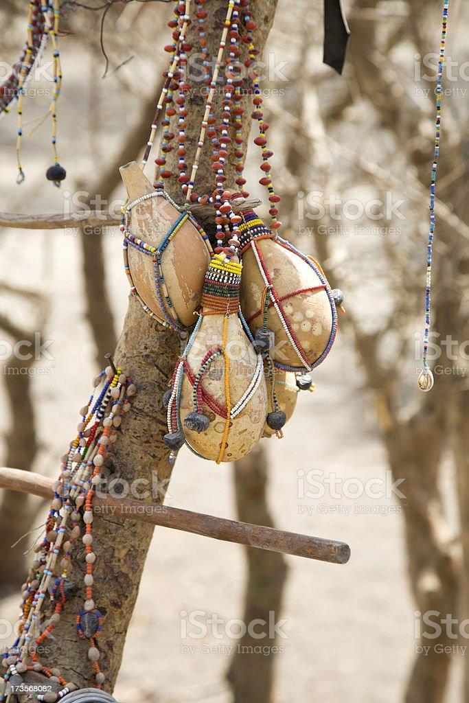 Masai calebashes royalty-free stock photo