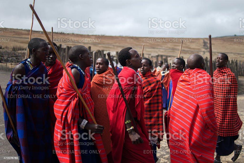 Masai dance, Ngorongoro crater, Tanzania stock photo