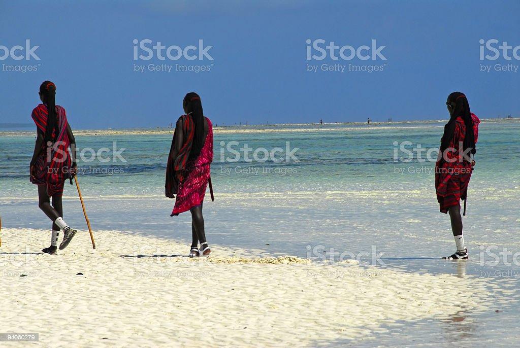 Masai on the beach stock photo