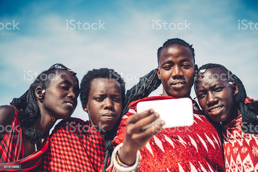 Masai Taking A Selfie stock photo