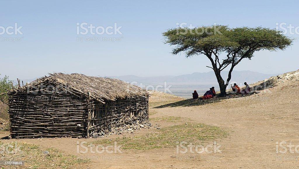 Masai Village Scene in Africa royalty-free stock photo