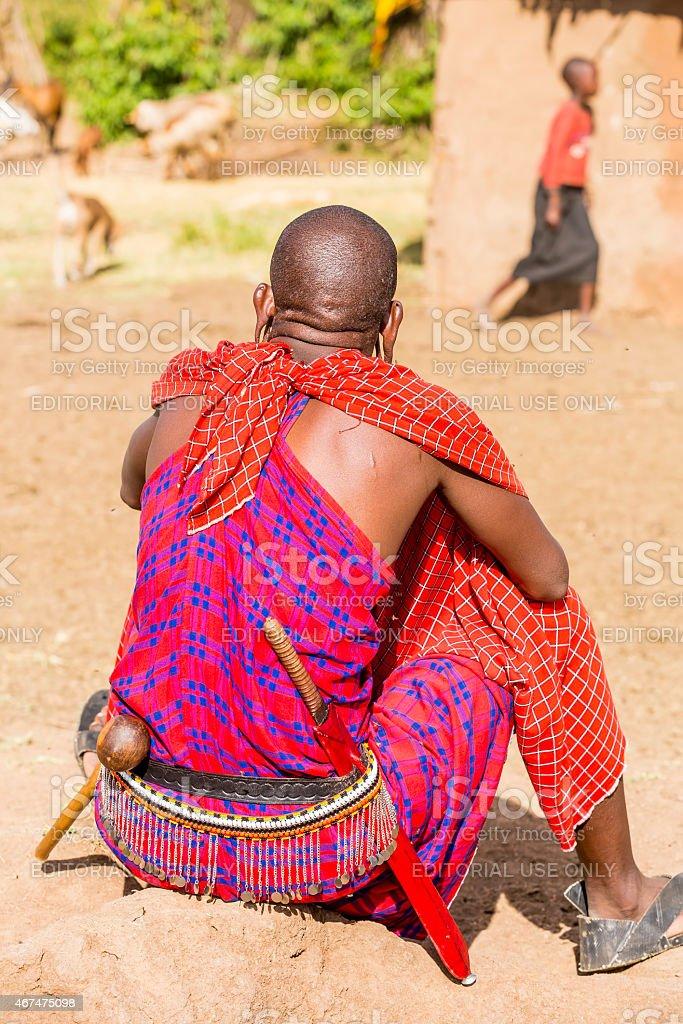 Masai Warrior is resting stock photo