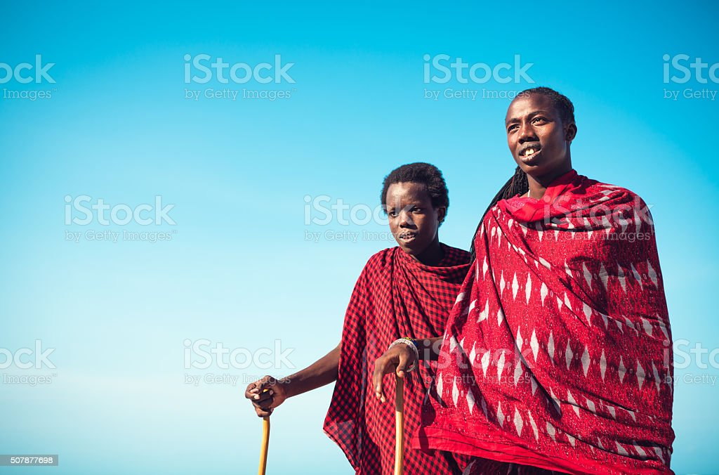 Masai Warriors From Tanzania stock photo