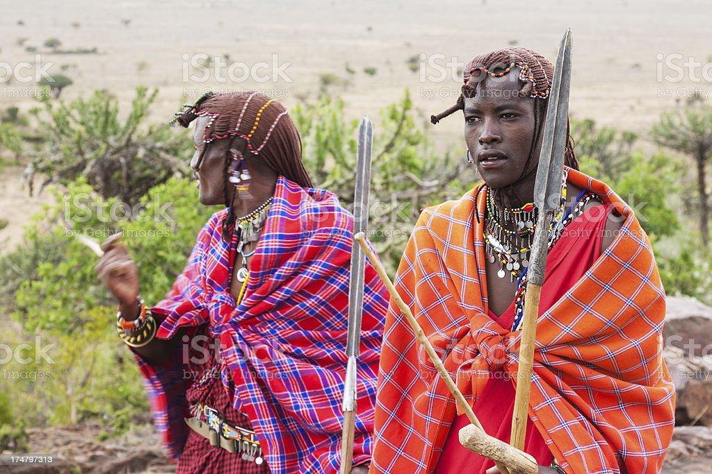 Masai warriors stock photo