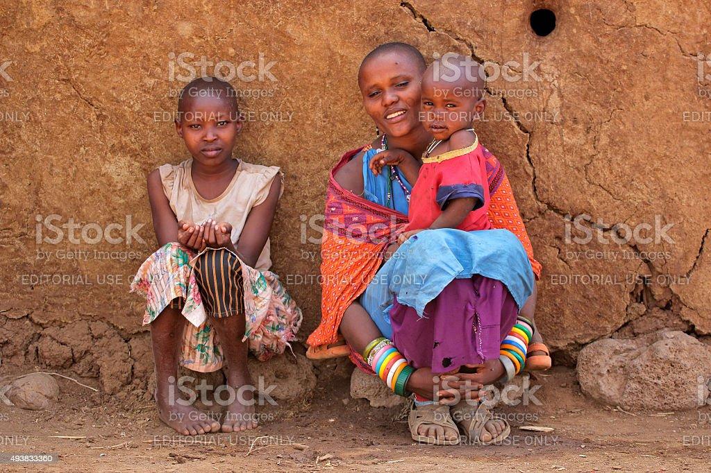Masai woman and children stock photo