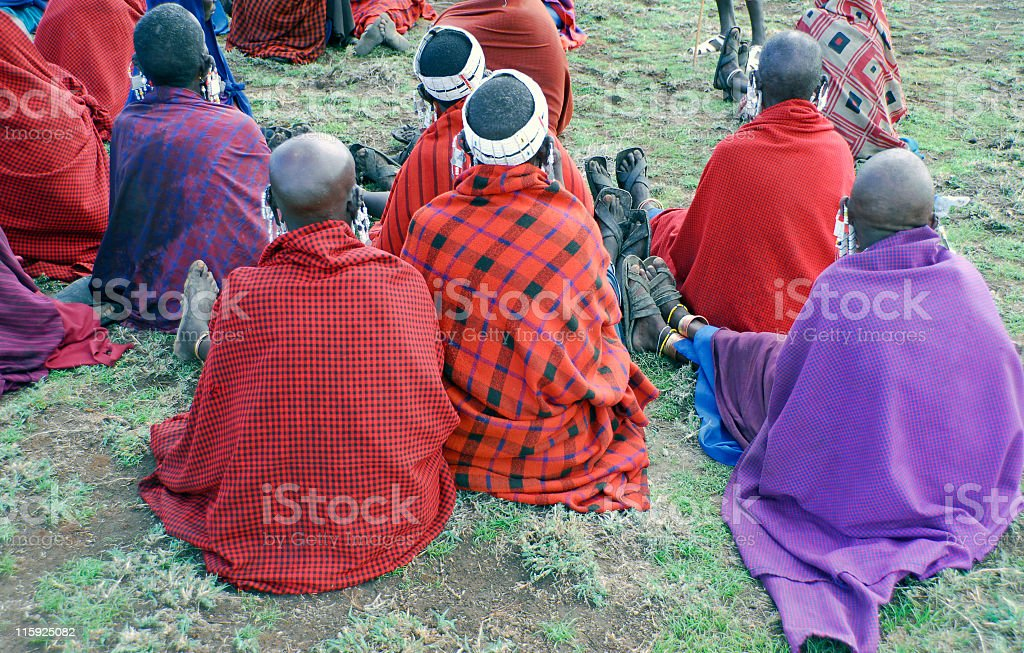 Masai women attending a meeting in the village. stock photo