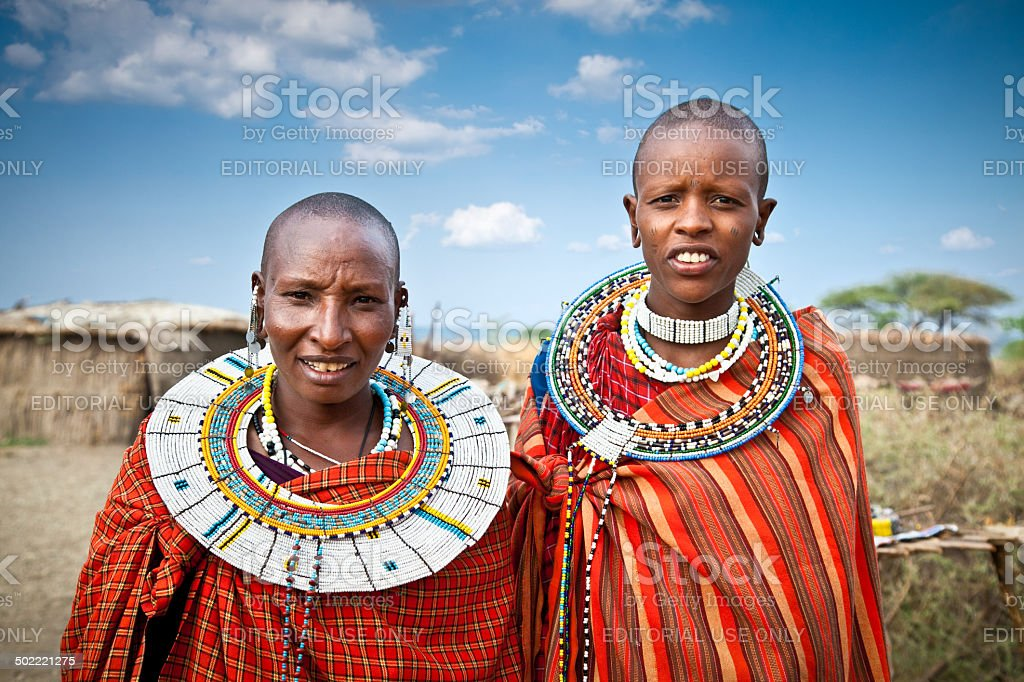 Masai women with traditional  ornaments. Tanzania. stock photo