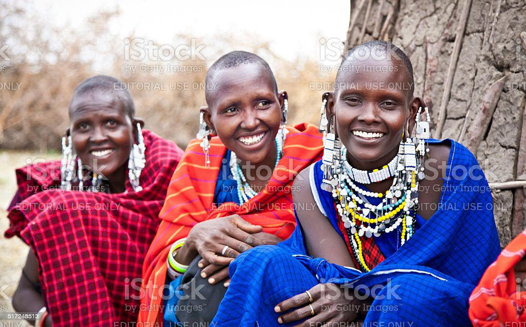 Masai women with traditional. Tanzania. stock photo