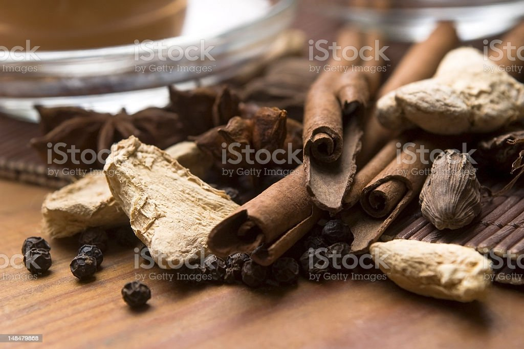 Masala chai with ingredients stock photo