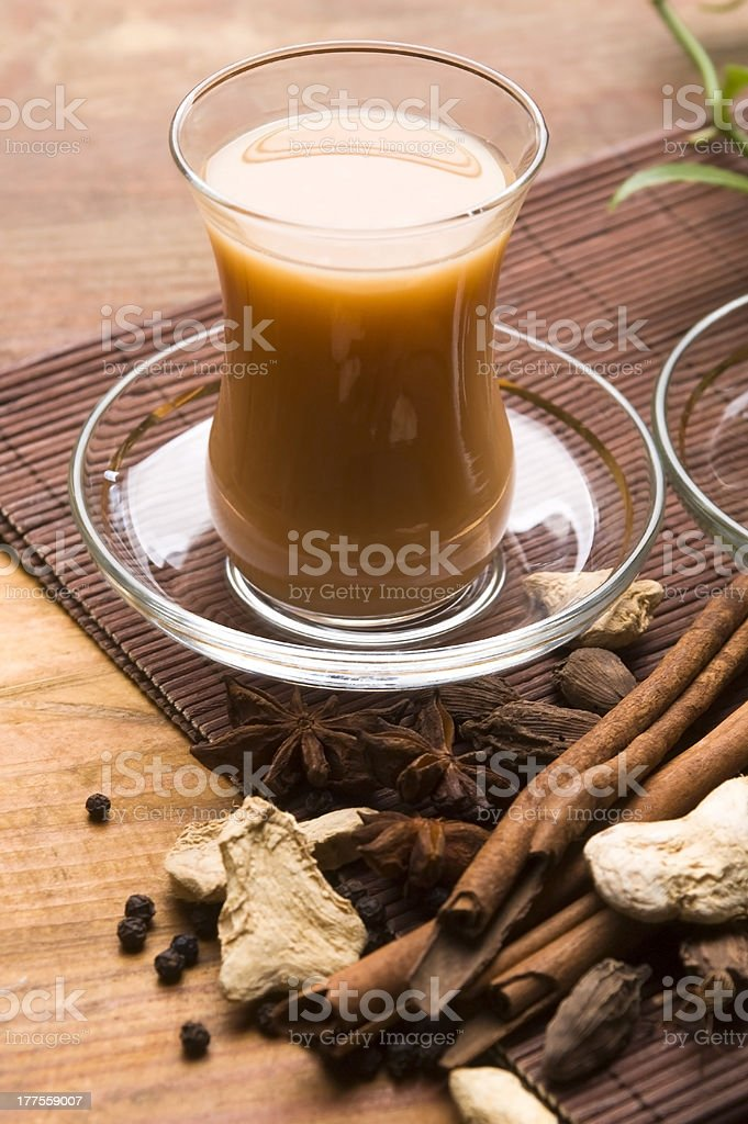 Masala chai with ingredients royalty-free stock photo