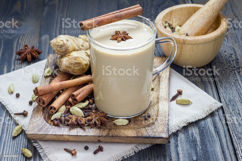 Masala chai with spices. stock photo