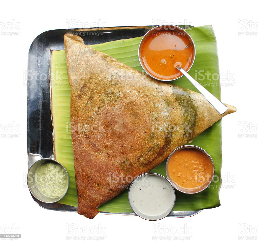 Masala dosa, chutney and sambar stock photo