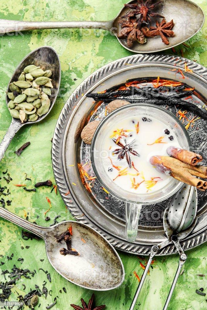 Masala tea ingredients stock photo