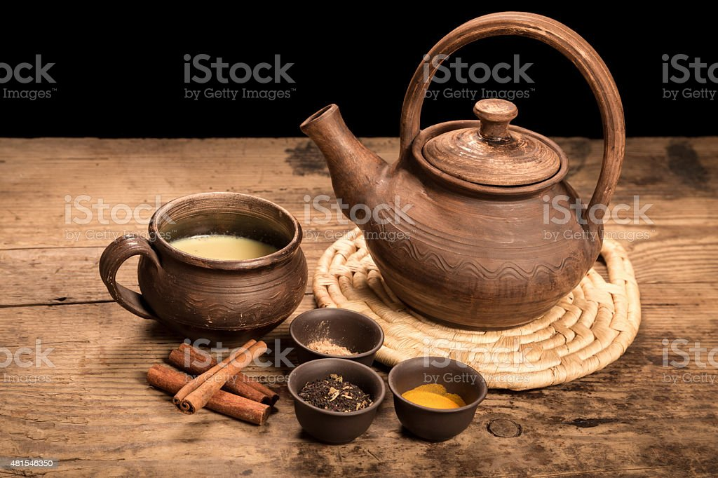 Masala tea with spices stock photo