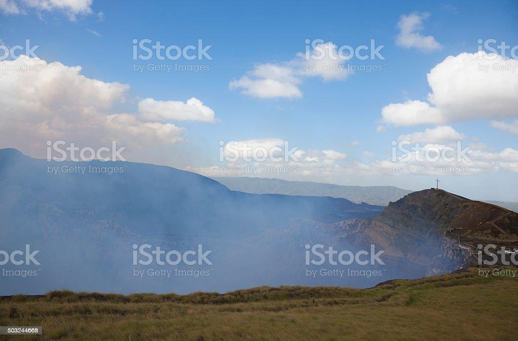 Masaya volcano and La Cruz de Bobadilla, Nicaragua stock photo
