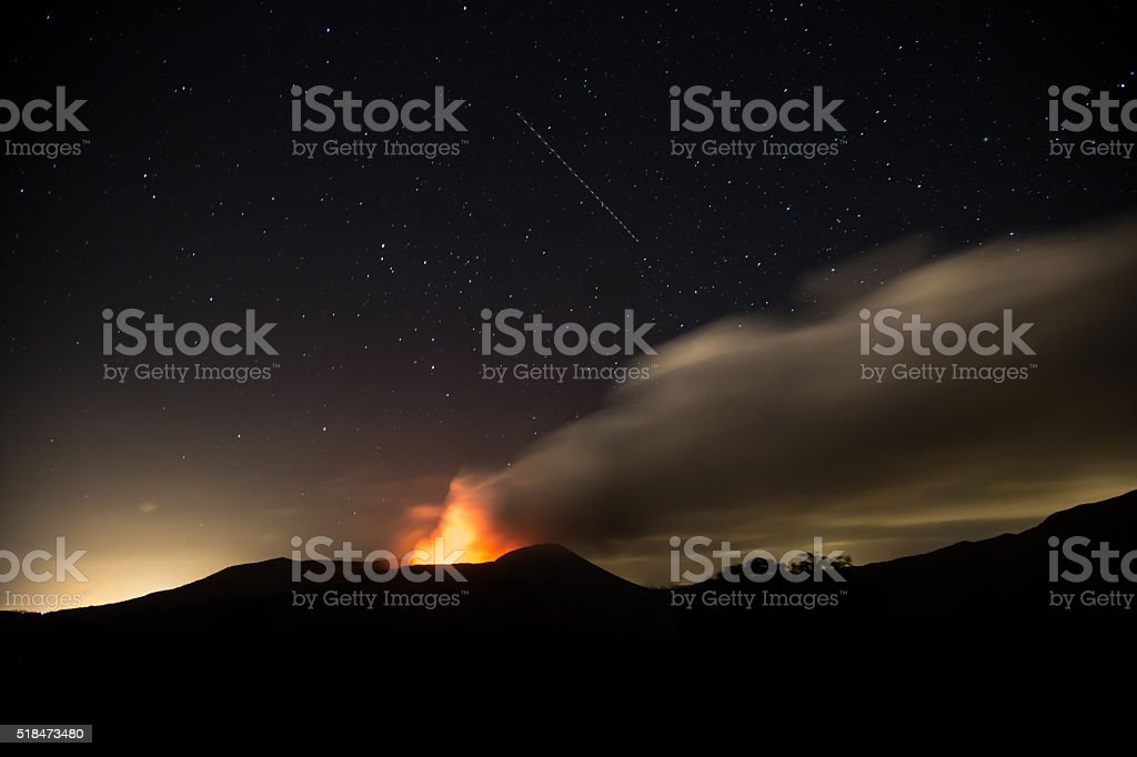 Masaya volcano view at night during an eruption. stock photo