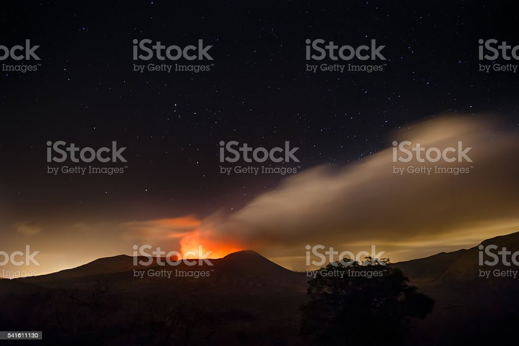 Masaya volcano view at night during an eruption stock photo