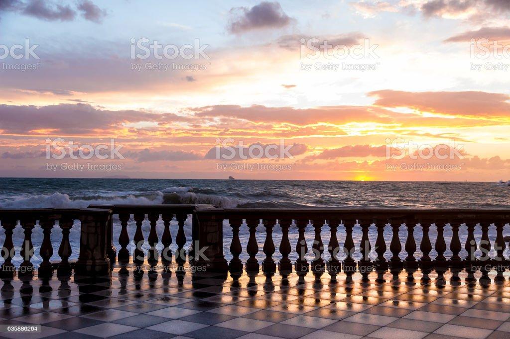Mascagni Terrace in Leghorn, Italy stock photo