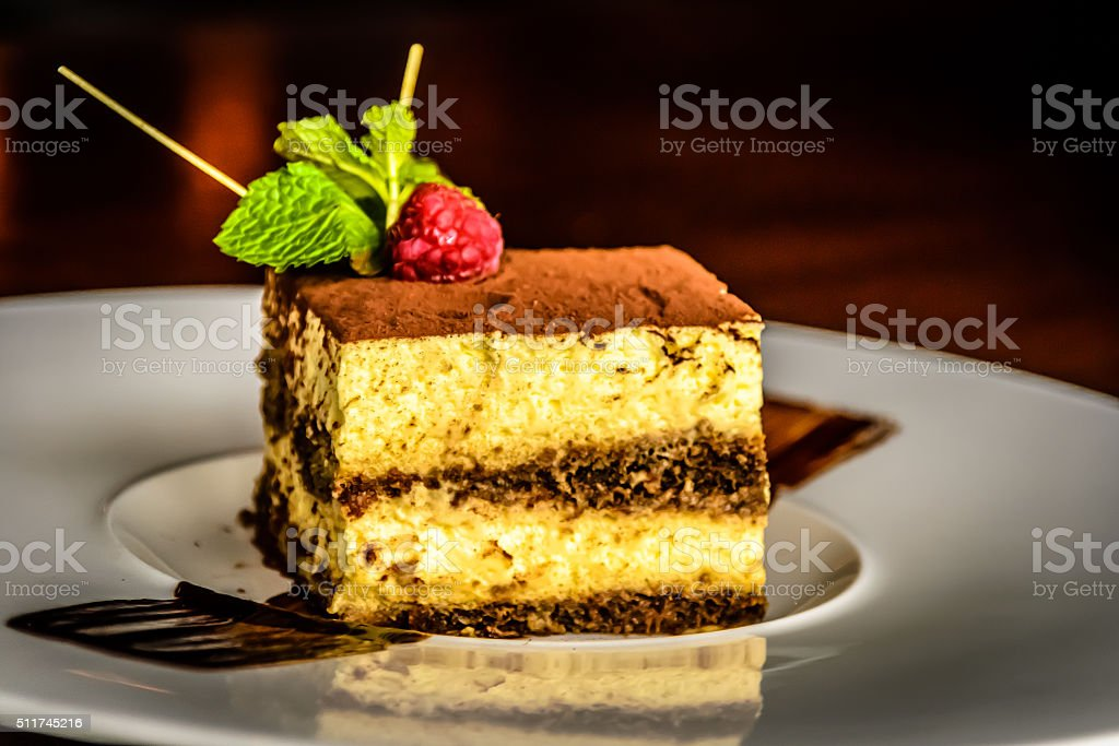 Mascarpone Cheese Tiramisu Cake With Espresso Coffee, Biscuits and Cacao stock photo